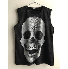 Skull Goth Punk Rock Stone Wash Vest Tank Top M
