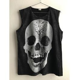 Skull Goth Punk Rock Stone Wash Vest Tank Top M
