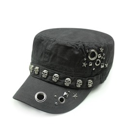 Retro Punk Skull Adjustable Flat Top Rivets Cap,Casual Unisex Fashion Hat