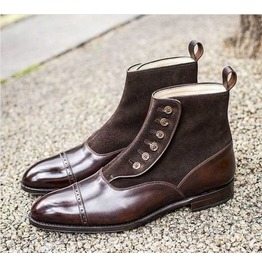 Handmade Mens Brown Button Boots, Men Brown Ankle Boots, Men Leather Boot