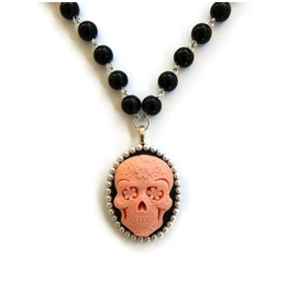 Pink Sugar Skull Black Beaded Necklace