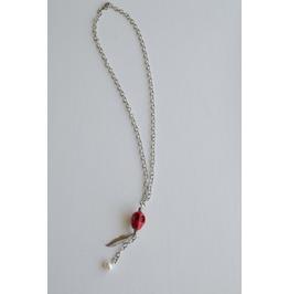 Red Skull Charm & Pearl Neckale