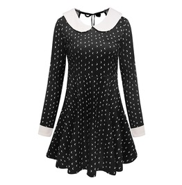 Lolita Goth Mini Moons Peter Pan Collar Black White Hollow Out Mini Dress