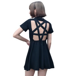 Goth Punk Pentagram Star Hollow Out Back Black Mini Dress