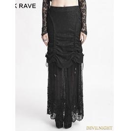 Romantic Black Gothic Composite Lace Skirt Q 272
