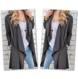Gray Asymmetric Irregular Long Cardigan Women