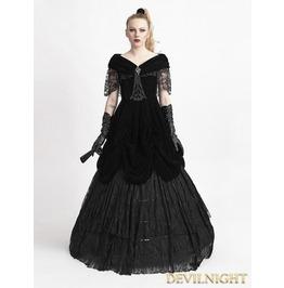 Black Velvet Off The Shoulder Gothic Victorian Dress Q 273