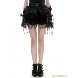 Black Gothic Bandage Two Piece Punk Spiky Skirt Q 284