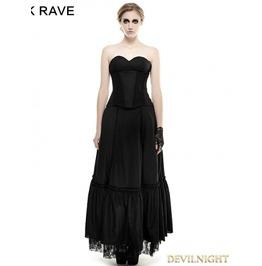Black Lace Hem Gothic Dress Q 292