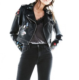 Faux Leather Wide Collar Slim Floral Embroidered Motorcycle Jacket Women