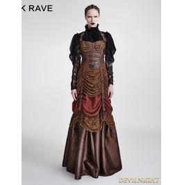 Brown Steampunk Hanging Neck Long Dress Q 295