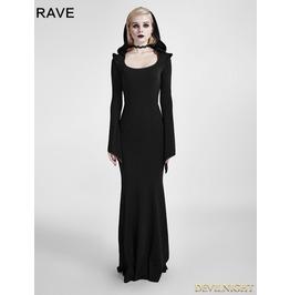 Black Gothic Dress With Hood Q 296
