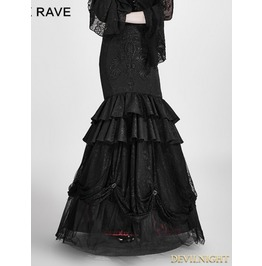Black And Red Gothic Detachable Two Wear Gothic Skirt Q 297