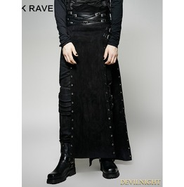 Black Gothic Punk Split Skirt For Men Q 298 M
