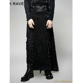 Black Gothic Punk Split Skirt For Men Q 298 M