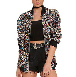 Sequins Long Sleeve Zipper Bomber Jacket Women