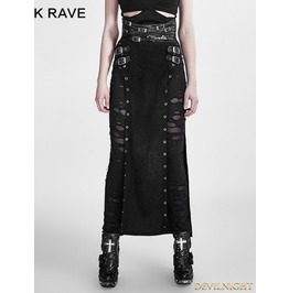 Black Gothic Punk Split Skirt For Women Q 298