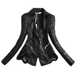 Punk Rock Goth Wide Collar Zipper Lace Design Pu Leather Jacket Women