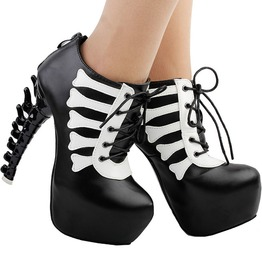 Punk Black White Skull Lace Up High Top Bone Heels Platform Ankle Boots