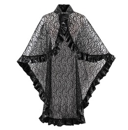 Dark Gothic Lace Pu Poncho Black Shawl
