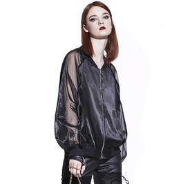 Black Sheer See Through Sleeves Gothic Black Loose Women Jacket
