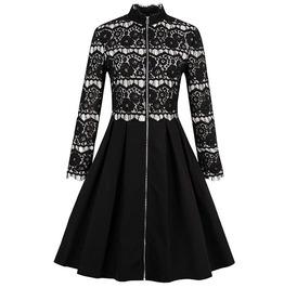 Gothic Vintage Black Lace Hollow Tassel Front Zipper Closure Black Dress