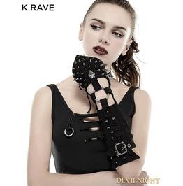 Black Handsome Cross Spike Steampunk Gloves S 178 Bk