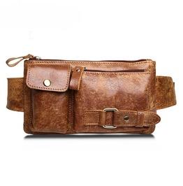 Men Fashion Genuine Leather Waist Bag Cross Body Messenger Chest Bag