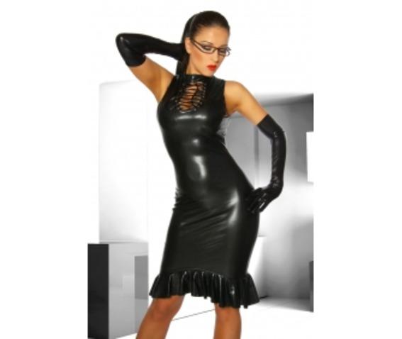 black_stretch_polyurethane_one_piece_dress_w_ruffle_dresses_3.jpg