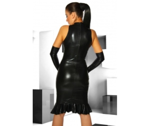 black_stretch_polyurethane_one_piece_dress_w_ruffle_dresses_2.jpg