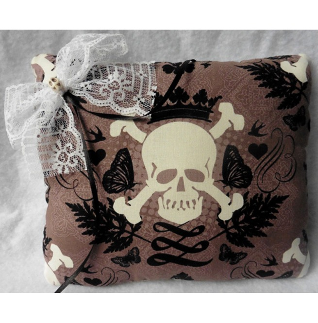 Skull Crown Taupe Brown Wedding Rings Pillow Gothic Wedding