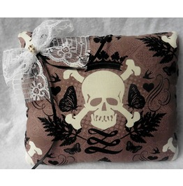 Skull & Crown Taupe Brown Wedding Rings Pillow Gothic Wedding, Rockabilly