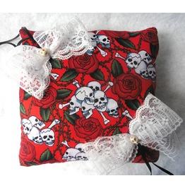 Skulls & Roses Red Wedding Rings Pillow, Red, White, Gothic Wedding, Bones