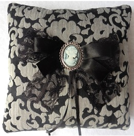 Baroque Black Gray Wedding Ring Pillow, Victorian, Cameo, Gothic, Shabby