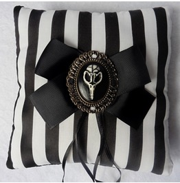Nevermore Wedding Ring Pillow, Raven, Crow, Gothic, Victorian, Stripes