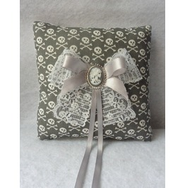 Grey White Skulls Wedding Rings Pillow, Victorian, Bridal, Cushion