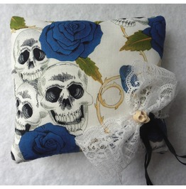 Skulls & Blue Roses Wedding Rings Pillow, Green, White, Gothic, Bride