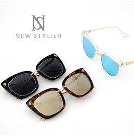 Acrylic Rimmed Gold Frame Cat Eye Sunglasses 28