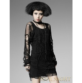 Black Long Sleeves Spider Web Gothic Shirt For Women T 322