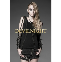 Black Gothic Punk Shirt For Women With Oversleeves T 339