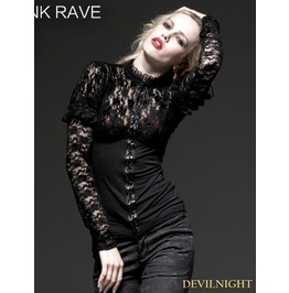 Black Gothic Lace Knit Shirt For Women T 348