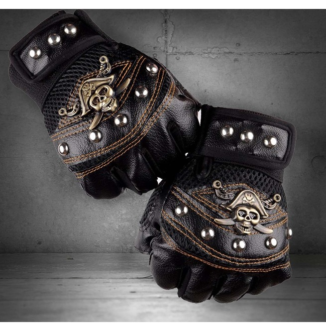 Skull Studded Punk Rock Biker Driving Women/'s Leather Fingerless Gloves