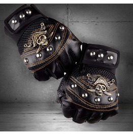 Men's Punk Skull Stud Biker Driving Motorcycle Fingerless Leather Gloves
