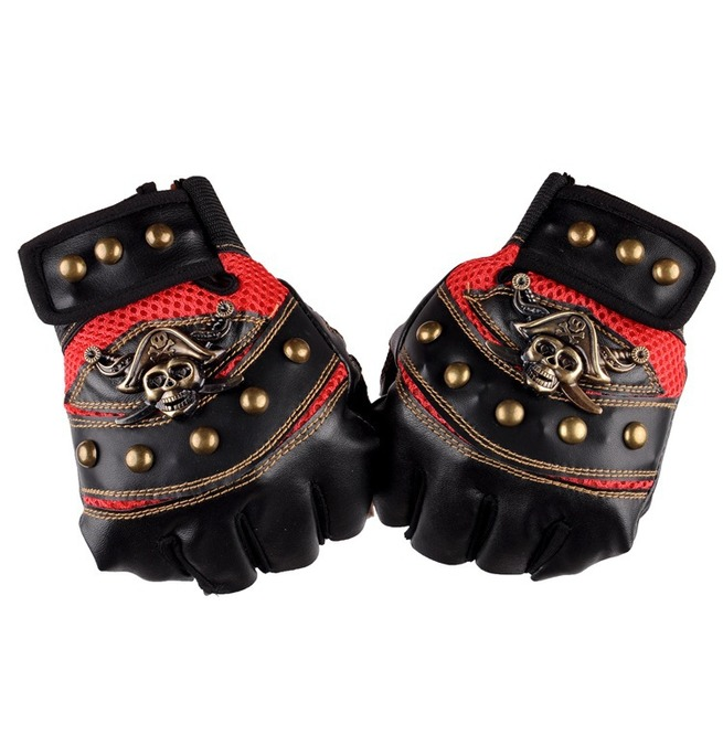 Men's Punk Skull Stud Biker Driving Motorcycle Fingerless ...