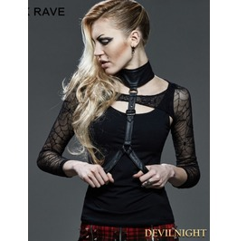 Black Gothic Punk Two Piece Waistcoat T Shirt For Women T 402