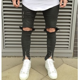 Men Ripped Destroyed Skinny Runway Straight Slim Denim Biker Jeans