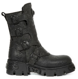 New Rock Wild Vintage Black Flower Reactor Boots