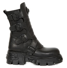 New Rock Wild Black Crust Reactor Goth Boots