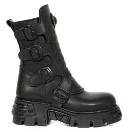 New Rock Wild Black Crust Reactor Goth Boots
