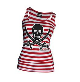 Women's Red/White Striped Jolly Roger Tank Top